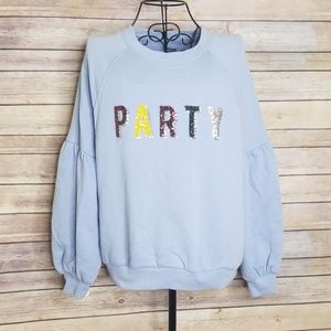 Aerie M PARTY sequin sweatshirt